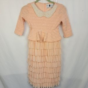 Dainty Jewells girls ruffle tweed beaded dress